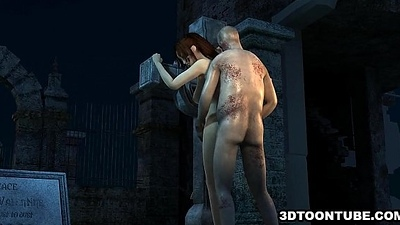 Busty 3D cartoon pet getting fucked fixed overwrought a zombie