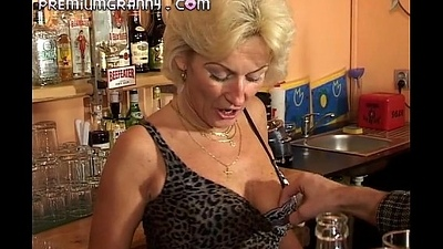 Perfect granny looks for an orgasm at a bar food