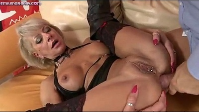 A kinky blond Milf gets fucked by a obese dick