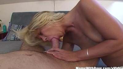 Cum Splotchy Blonde Mother Breasts Fucked