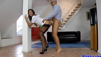 Euro nurse fucked doggy style standing up