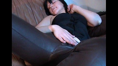 Horny girl in brown go underground panties masturbating on go underground couch