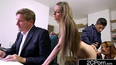Sneaky Skinny Bastard Fucks Boss'_s Tie the knot and Daughter - Tarra White, Leyla Morgan