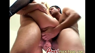 Horrific Blonde Whore Takes Twosome Big Jocks Adjacent to Say no to Ass