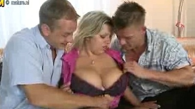 3497532 chunky breasted mom sucking with an increment of shafting twosome boys