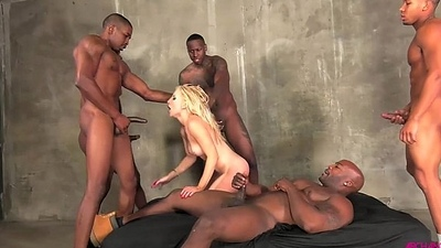 Ashley Fires gangbang luring black cocks in all holes