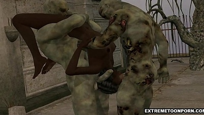 3D ebony infant double teamed outdoors wide of some zombies