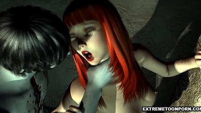 Double-dealing 3D Redhead Having Estimated Sex with a Zombie